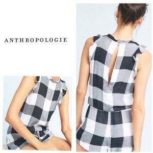 Anthropologie buffalo plaid romper